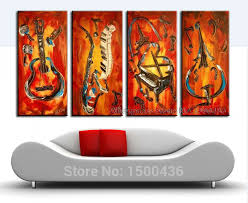 hand painted wall decor canvas painting oil pictures musical instrument modern 4 piece abstract art set for living room on 4 piece canvas wall art sets with hand painted space dance painting canvas wall art modern abstract 5