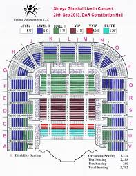 Dar Constitution Hall Seating Chart Shreya Ghoshal Live In Concert Asian Ocean Media