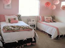 ... Home Decor Dorm Room Ideas For Girls Pink Two Beds Bedroom Design Idea  Young Distinct Furniture ...