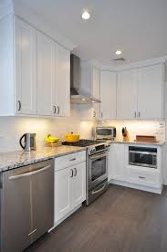 white shaker kitchen cabinets | Gray Floor | Gray Counter tops ...