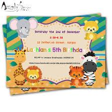 B Day Invitation Cards Us 5 94 15 Off 20pcs Safari Animals Theme Invitations Card Birthday Party Supplies Birthday Party Decorations Kids Event Birthday Invitation In