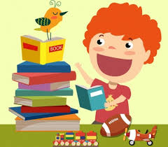 childhood background book stack kid toys icons