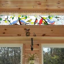 stained glass transom delightful colorful bird gathering blossoms window panels full size
