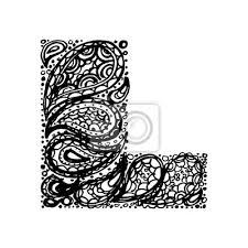 Fototapeta Písmeno L Dekorativní Abeceda S Bordó Zen Náplní Doodle Tetování