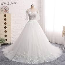 Gown Dress Design 2018 Us 369 0 Vestido De Noiva Longo New Design 2018 Wedding Dress Scoop Neck Long Sleeves Chapel Train Ball Gown Lace Tulle Bridal Gowns In Wedding