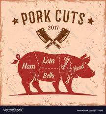 Pork Cuts Vintage Scheme For Butcher Shop