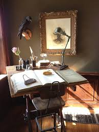 antique writing desk home office with none