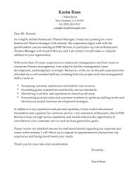 Best Restaurant Theatre Manager Cover Letter Examples Livecareer