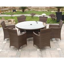 futuristic seater rattan and wicker garden tables chairs for outdoor with round table and glass table top idea