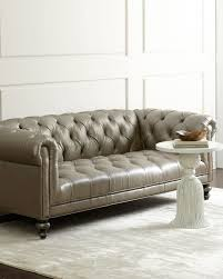 old hickory tannery morgan gray chesterfield leather sofa neiman marcus
