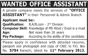 Jobs Opportunities For Office Assistant In Karachi Pakistan For Jobs ...