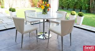 graceful round white gloss dining table 18 small high glass and 4 chairs