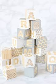 baby blocks diy personalised craft activity for a baby shower