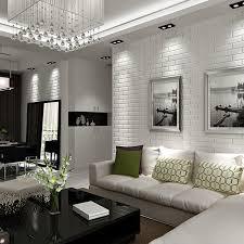 white brick wall living room