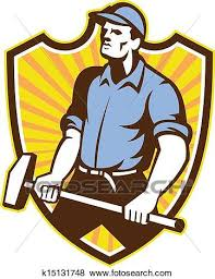 sledgehammer clipart. clip art - worker wielding sledgehammer crest retro. fotosearch search clipart, illustration posters clipart