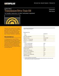 How To Read Oil Viscosity Chart Transmission Drive Train Oil Synthetic Toromont Cat