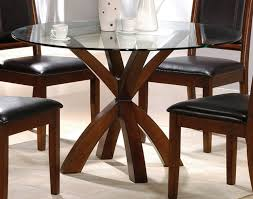 simple round glass top dining tables with wood base and chairs set ideas 13