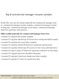 resume objectives for managers top 8 commercial manager resume samples 1 638 jpg cb 1429928726