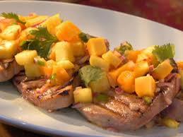 grilled tuna with hot pineapple papaya salsa recipe robin miller food network