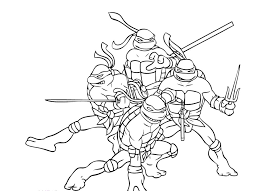 Small Picture Four Ninja Turtle Combat Ready Coloring Page Ninja Turtle
