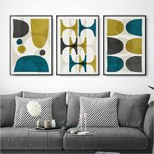 set of 3 prints abstract wall art print set living room print large