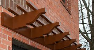 commercial fiberglass wall pergola kit on brick wall with stringers commercial design with wall pergola