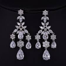 bridal chandelier earrings austrian crystal chandelier earrings cubic zirconia long drop bridal earrings pageant earrings drop earrings art deco