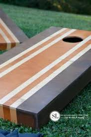 Wooden Corn Hole Game Two Toned Wood Stained Corn Hole Boards Light Dark Contrast 76