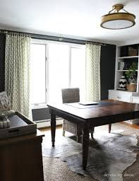 curtains for home office. Home Office With Black Walls And Brass Accents Curtains For