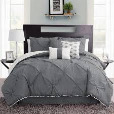 callie dark gray pintuck 7 pc comforter