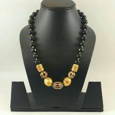 Funky Necklace Designs Black Neck Piece With Meenakari Beats Silver Jewellery