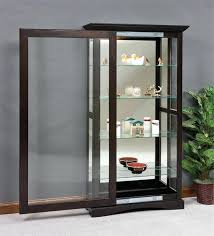 mission sliding door curio cabinet vintage metal with glass doors full size
