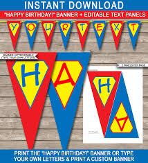 Happy Birthday Sign Templates Superhero Party Banner Template Birthday Banner Editable Bunting