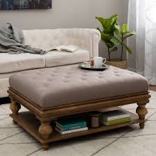 Elements Rubbed Light Brown Wood Ottoman w/ Taupe Cushion - Free Shipping  Today - Overstock.com - 13324767