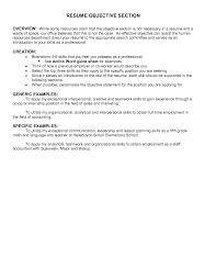 Resume Objectives Best Templateresume Objective Examples Section In
