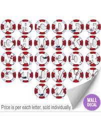 nautical ocean alphabet wall letter vinyl decal stickers