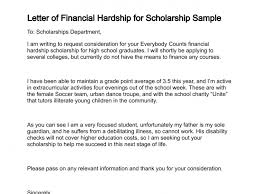 examples of hardship letter of financial hardship for scholarship sample college life