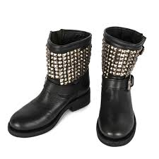 tennesse nickel studded black leather biker boots