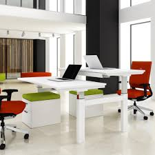 Home office desks for two Contemporary Progress Sit Stand Electric Double Bench Desk Office Furniture Scene With Regard To Designs Architecture Winner Autoworld Cool Home Office For Two Design Space Desk With Regard To Double