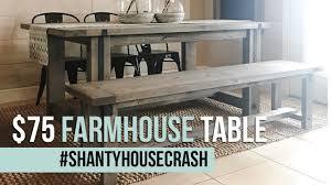75 Farmhouse Dining Table Build Shantyhousecrash Youtube