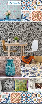 pattern furniture. paint floors walls and kitchen backsplash with diy faux tile pattern stencils furniture