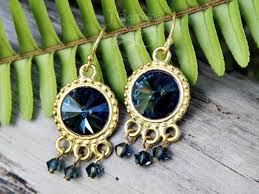 dark teal blue crystal rivoli 22k gold plated chandelier earrings