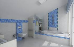 Cheerful Bathroom Design Ideas With Ocean Blue Mosaic Tile Blue