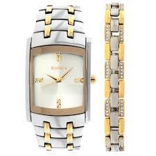 elgin men s skeleton stainless steel automatic watch steel elgin men s crystal accent two tone watch and bracelet set