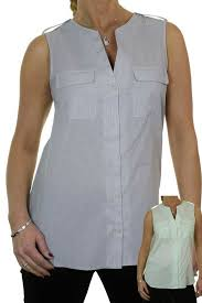 Shirt Neck Size Conversion Chart Ladies Sleeveless Open Neck Shirt Tunic Top