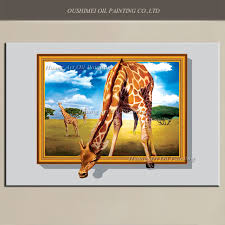 new 3d giraffe oil painting big size painted hand painted animals painting on canvas modern prairie