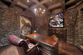office man cave. Stone-wall-man-cave-office-with-desk-wood- Office Man Cave 8