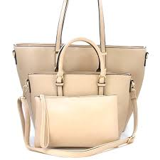 isabelle 3 piece contemporary sophisticated handbag set in light taupe swtrading