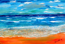 thousands shades of blues demo painting sea horizon impressionist style acrylic by rami benatar