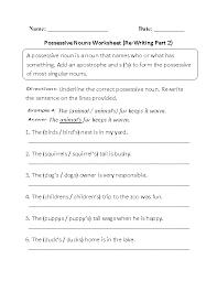 Nouns Worksheets | Possessive Nouns Worksheets